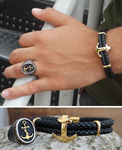 ست دستبند و انگشتر لنگر