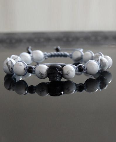 دستبند مهره بافت سفید